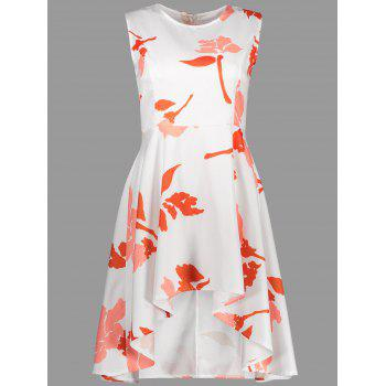 High Waisted Asymmetrical Floral Summer Dress
