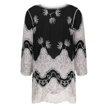 V Neck Crochet Cover Up Blouse - BLACK BLACK