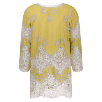 V Neck Crochet Cover Up Blouse - ONE SIZE ONE SIZE