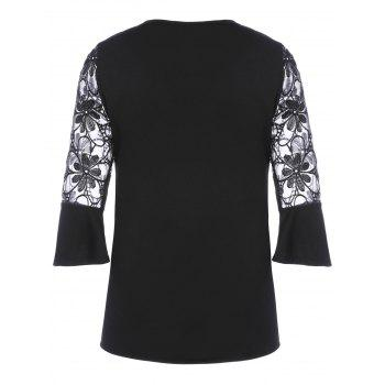 Lace Trim Flare Sleeve Blouse - BLACK BLACK