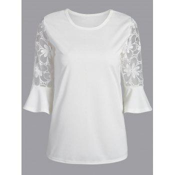 Lace Trim Flare Sleeve Blouse - WHITE M