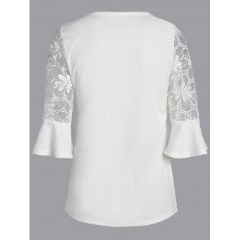 Lace Trim Flare Sleeve Blouse - S S