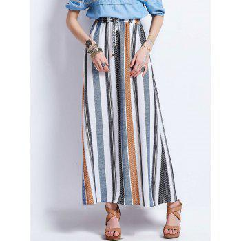 Drawstring High Waisted Stripe Maxi Skirt