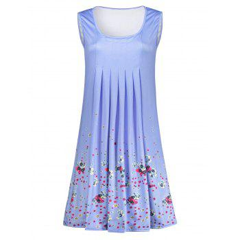 Sleeveless Floral Print Ruched Dress