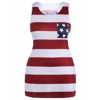Plus Size Sleeveless Tank American Flag Dress