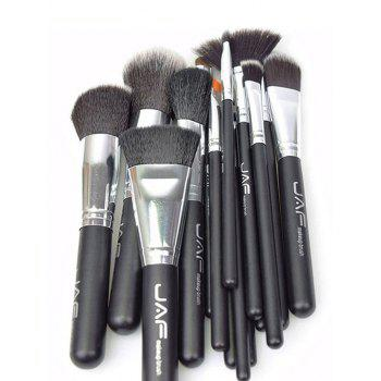15Pcs Portable Nylon Makeup Brushes Set - BLACK