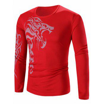Crew Neck Long Sleeve Stretchy Lion Print T-Shirt