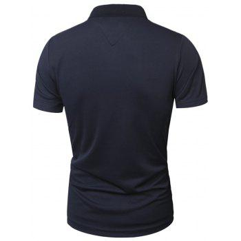Slimming Panel Short Sleeve Polo T-Shirt - CADETBLUE XL
