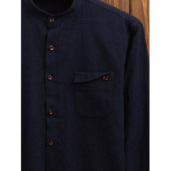 Stand Collar Pocket Long Sleeve Shirt - CADETBLUE XL