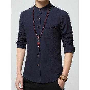 Stand Collar Pocket Long Sleeve Shirt