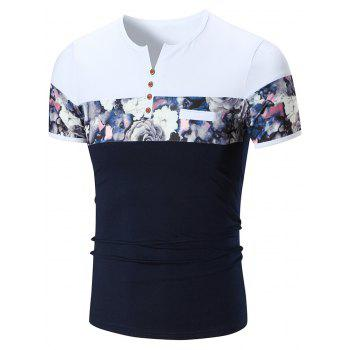 Notch Neck Floral Print Tee