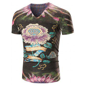 V Neck Diamond Printed Floral Tee