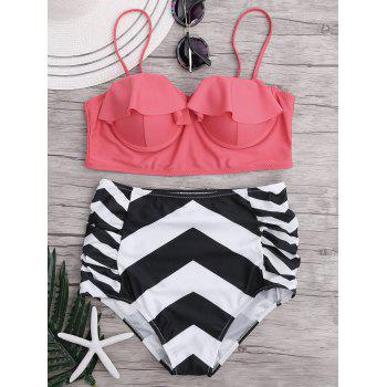 High Waisted Ruffled Zigzag Bikini Bikini Set