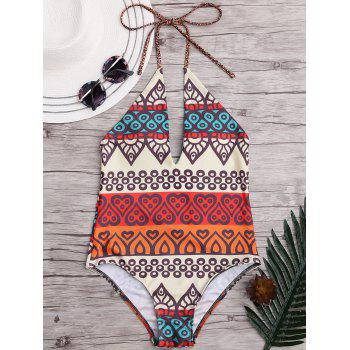 Halter Low Back One-Piece African Bathing Suit