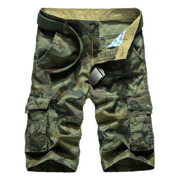 Zip Fly Camo Cargo Shorts with Pockets