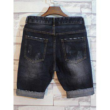 Patched Distressed Jean Shorts - DEEP GRAY 2XL