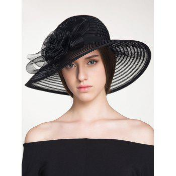 Organza Rose Ribbon Stripe Sun Hat