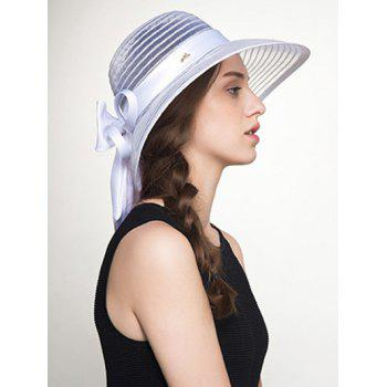 Stripe Ribbon Bowknot Organza Sun Hat -  WHITE