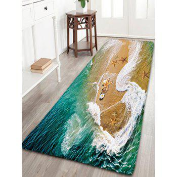 Flannel Antiskid Bathroom Rug with Sea Beach Print
