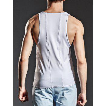Stretchy Suture Fitted Tank Top - Blanc XL