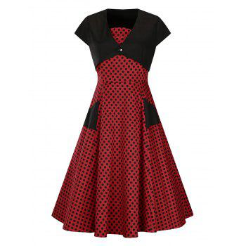 Plus Size Polka Dot Vintage Bandeau Dress and Crop Blouse