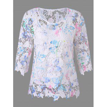 Round Neck Hollow Out Lace Blouse - WHITE M