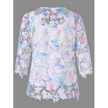 Round Neck Hollow Out Lace Blouse - WHITE WHITE