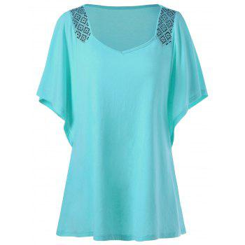 Butterfly Sleeve Rhinestone Embellished Plus Size T-shirt