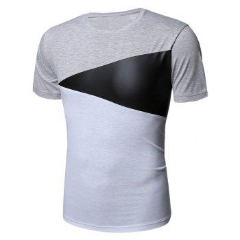 Color Block PU Leather Panel Short Sleeve T-Shirt