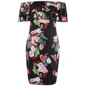 Bistratal Flounce Off The Shoulder Floral Dress