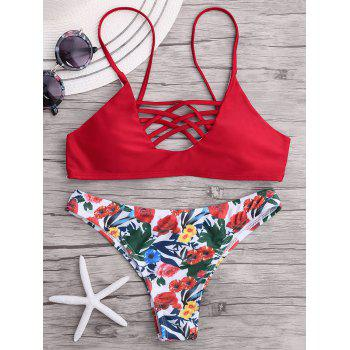 Cross Strappy Push Up Floral Bikini Set