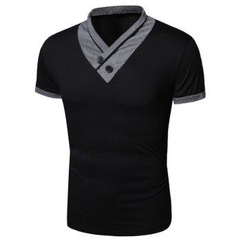 Shawl Collar Short Sleeve Buttons Embellished T-Shirt