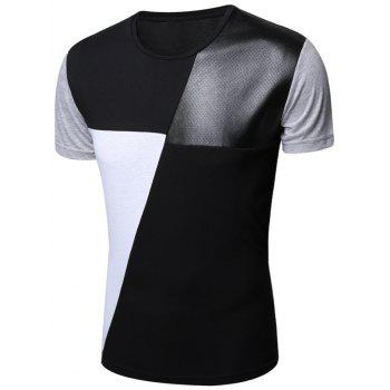 Openwork PU Leather Panel Color Block T-Shirt