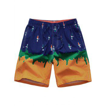 Surfboard Printed Ombre Color Board Shorts