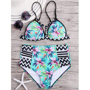 High Waisted Zigzag Floral Bikini Set