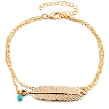 Faux Turquoise Alloy Feather Anklet -  GOLDEN
