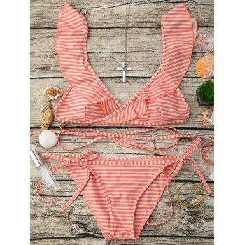 Flounce Striped Wrap String Bikini Set