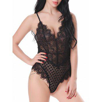Lace High Cut Criss-cross Cami Teddy