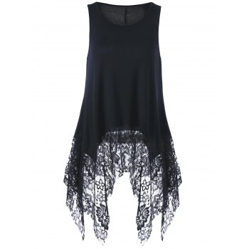 Lace Hem Sleeveless Handkerchief Blouse - BLACK BLACK