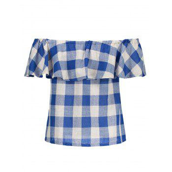 Off The Shoulder Plaid Flounce Blouse - XL XL