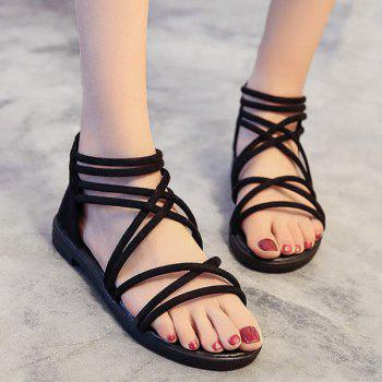 Zipper Cross Strap Flat Heel Sandals
