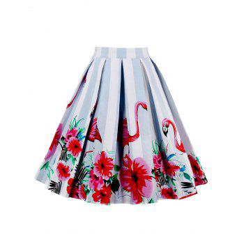 High Waist Animal Floral Print A Line Skirt