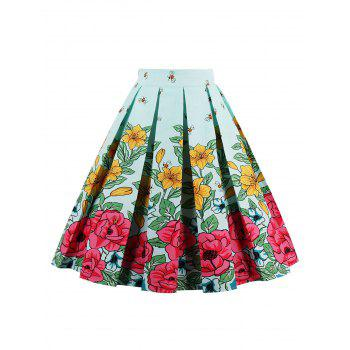 Bee Floral Print High Waist Skirt