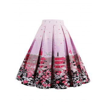 High Waist Floral A Line Skirt - PINK 2XL