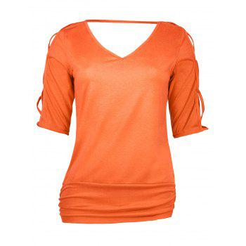 V Neck Cutout Criss Cross T-Shirt - JACINTH S