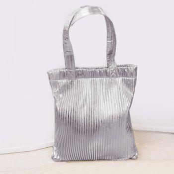 Metallic Color Ribbed Shopper Bag