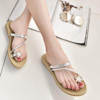 Rhinestone Metal Color Toe Ring Slippers
