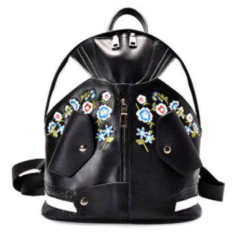 Floral Embroidery Jacket Shaped Backpack