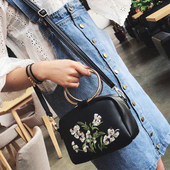 Metal Rings Floral Embroidered Handbag -  BLACK