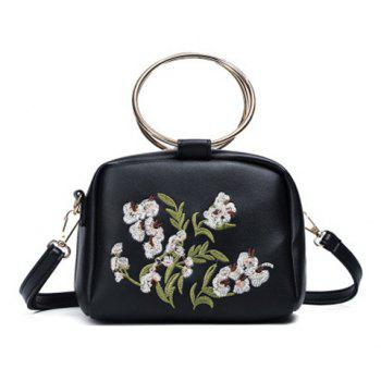 Metal Rings Floral Embroidered Handbag - BLACK BLACK